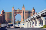 Monorail and road leading to the Atlantis Hotel on the cresent of Palm Jumeirah