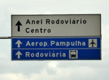 Belo Horizonte road sign - Centro and Aeroporto Pampulha, the domestic airport close to the city center