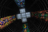The four stained glass windows meet at a cross in the ceiling, Rio Cathedral