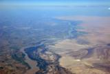 The fertile Amu Dar'ya River valley soon gives way to desert heading north
