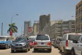 Traffic along Av. 4 de Fevereiro, Luanda