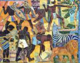 Tile mural - African warriors, farmers and wildlife, Luanda