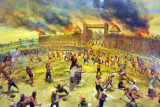 Burmese army attacking wooden stockade at Ban Bangrachan, 1764