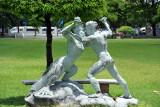 Statue of wrestlers, National Museum Bangkok