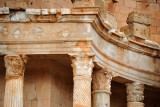 Richly carved column capitals, Theater of Sabratha