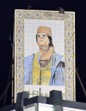 Painted tile portrait of Qadhafi - Green Square