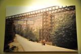 A bridge with a photo of Omar al-Mukhtar