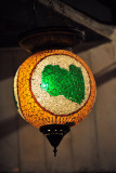 Mosaic glass lamp with the map of Libya