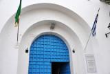 Blue and white doorway to the Greek Orthodox Church of St. George, Tripoli Medina