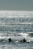 Kayakers in the surf, New Brighton South