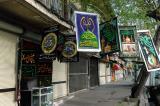 Shops selling religious banners along Naser Khosro Street, Tehran