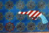 Pistol with the colors of the American flag, former US Embassy, Tehran