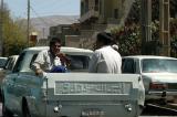Boys in the back of an Iran Khodro pickup truck, Shiraz