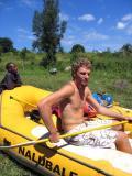 Matt Dvorak, the river guide, giving paddling instruction