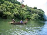 Fisherman in a canoe on the Nile, Uganda