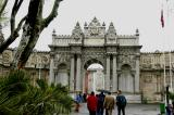 Main gate to Dolmabahce Palace on a rainy day