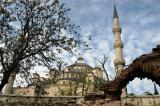 Sultanahmet Mosque (Blue Mosque) with an old arch, Tavukhane Sk.