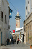 Rue de la Kasbah with the minaret of the Hammouda Pacha Mosque