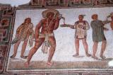 Mosaic floor of slaves serving at a banquet, Dougga, 2nd C. AD