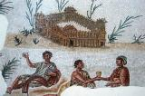 Mosaic of 3 men and a fort