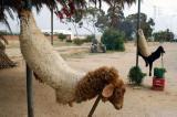 Sheepskin advertising fresh meat hangs outside a roadside Tunisian restaurant