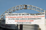 Banner across Kampala Ave for a preventative HIV vaccine trial seminar