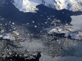 Icy seas off the coast of southeastern Greenland at Qeqertarsuaq
