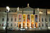 Dona Maria II National Theatre, Praça Dom Pedro IV at night