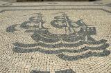 Praça Luis de Camões is covered with Lisbon's typical sidewalk mosaics, here a Portuguese tall ship