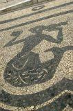 Sidewalk mosaic mermaid, Praça Luis de Camões