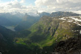 Geirangerfjord and a side view of Grindalsnibba from the summit of Dalsnibba (1500m)
