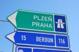 Road sign for the motorway between Praha and Plzeň (Prague and Pilsen)