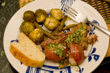 lesso with potato, beans and brussels sprouts