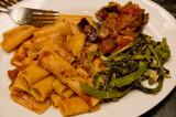 rigatoni, broccoli greens and vegetable tapenade