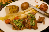 lesso with potato and white asparagus