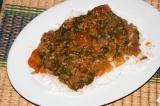 garlic tomato spinach over rice