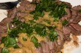 flank steak with mustard sauce