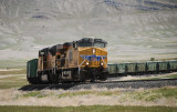 Westbound unit train (loads of gravel?) ascends the grade at Marblehead, Utah