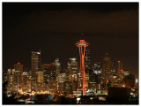 Red Space Needle and Seattle Skyline