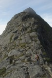 Sheila ascending toward the summitt of Helvetestinden