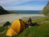 Our tent on the col above Bunes beach