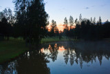 Sunrise at dam at Thistle Hill, Hunter Valley