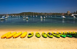 Manly wharf beach with kayaks