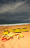 Surf life saving boards at Newport Beach, Sydney, Australia