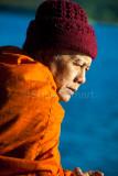 Buddhist monk on ferry