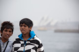 Two boys on ferry with Sydney Opera House backdrop