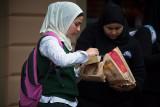 Schoolgirls in hijab at MacDonalds