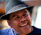 Aboriginal artist in hat
