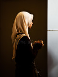 Profile of schoolgirl in hijab