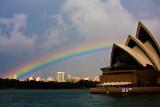 Sydney Opera House with rainbow